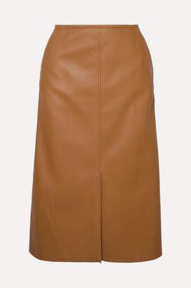 Joseph Iden Leather Midi Skirt - Camel