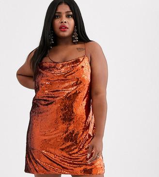 Asos DESIGN Curve cowl neck all over sequin mini cami dress-Silver