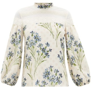 RED Valentino Cornflower Block-print Silk Crepe And Lace Blouse - Womens - Cream Multi