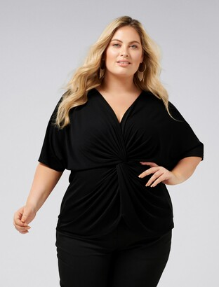 Forever New Liana Curve Jersey Twist Top - Black - 16