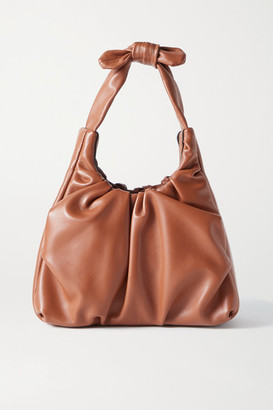 STAUD Island Ruched Leather Tote - Tan