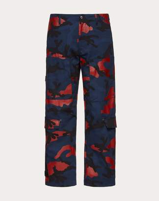 Valentino Camouflage Cargo Pants Man Navy/ Red 100% Cotone 44