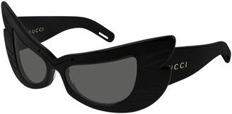 Gucci Cat-Eye Shield Acetate Sunglasses