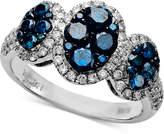 Effy Bella Bleu by Diamond Blue and White Diamond Three Oval (1-5/8 ct. t.w.) in 14k White Gold