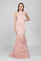 Terani Couture Crisscrossed Feather Fringed Mermaid Gown 1721E4185