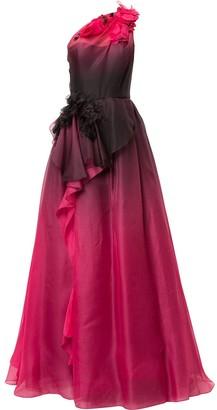 Marchesa Asymmetric Ombre Ball Gown