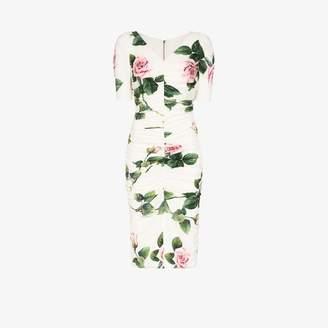 Dolce & Gabbana Womens White Rose Print Ruched Dress