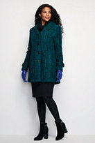 Classic Women's Plus Size Petite Wool Swing Coat-Multi Blue Tweed
