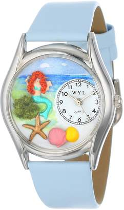Whimsical Watches Mermaid Baby Blue Leather and Silvertone Unisex Quartz Watch with White Dial Analogue Display and Multicolour Leather Strap S-1210011