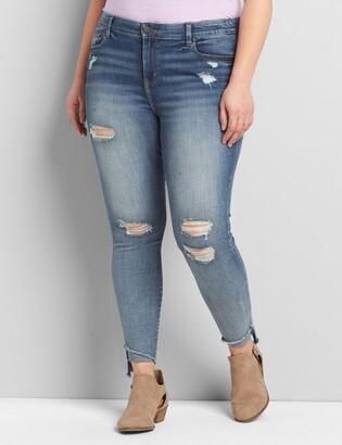 Lane Bryant Straight Fit High-Rise Skinny Jean - Ripped Medium Wash