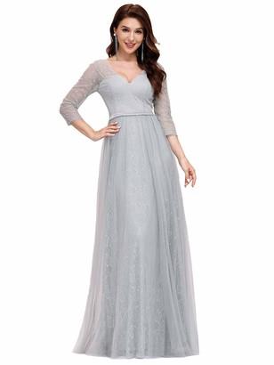 Ever Pretty Ever-Pretty Women's Elegant V Neck 3/4 Sleeve Lace Tulle A Line Floor Length Prom Dresses White 14UK