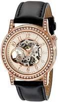 Akribos XXIV Women's Bravura Open Heart Skeleton Automatic Watch with Black Leather Strap AK475RG