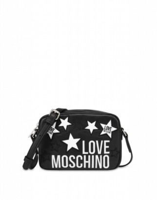 Love Moschino Patched Stars Shoulder Bag Woman Black Size U It - (one Size Us)