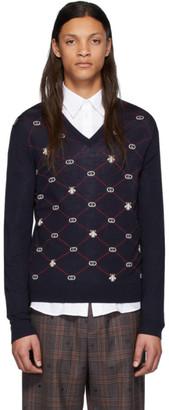 Gucci Blue Wool Interlocking G V-Neck Sweater