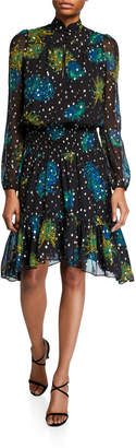 A.L.C. Reese Printed High-Neck Metallic Dress