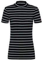 HUGO Short-sleeved striped top in ribbed stretch jersey
