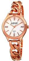 August Steiner Women's Genuine Diamond Rose-Tone Case with Silver-Tone Dial and Rose-Tone Steel Chain Link Bracelet Watch AS8222RG