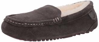 Dearfoams Womens Fireside Mel Water Resistant Genuine Shearling Moccasin Slipper