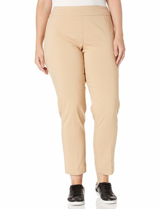 Slim Sation SLIM-SATION Women's Plus Size Wide Band Pull On Ankle Pant with Tummy Control