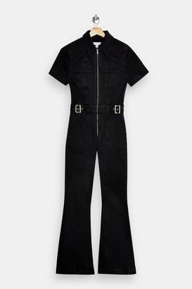 Topshop Washed Black Denim Flared Buckle Jumpsuit