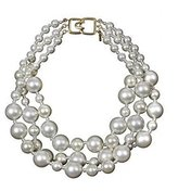 Kenneth Jay Lane Simulated Pearls Necklace Choker Bib Chunky Costume Fashion Jewelry