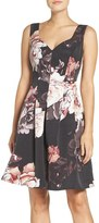 Adrianna Papell Women's Floral Print Faille Fit & Flare Dress