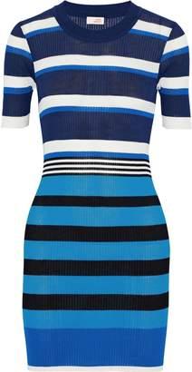 Diane von Furstenberg West Striped Ribbed Cotton-blend Mini Dress