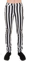 Run & Fly Mens Indie Vintage Retro 60s 70s Mod Black Striped Stretch Skinny Jeans