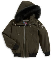 Moose Knuckles Bomber Coat With Fox Fur Trim