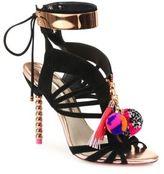 Sophia Webster Yasmina Pom-Pom Suede Cage Sandals