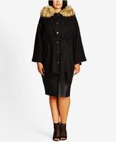 City Chic Trendy Plus Size Faux-Fur-Trim Capelet Coat