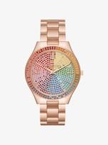 Michael Kors Slim Runway Rainbow Pave Rose Gold-Tone Watch