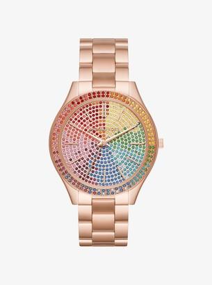 Michael Kors Oversized Slim Runway Rainbow Pave Rose Gold-Tone Watch