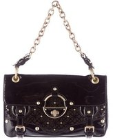 Versace Cutout Patent Leather Flap Bag