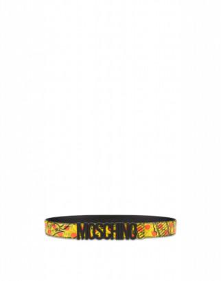 Moschino Yellow Pages Belt Man Yellow Size 46 It - (30 Us)