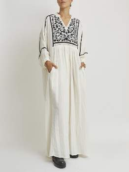 Mes Demoiselles Cotton Embroidered Long Dress. MORDRED - 38 | cotton | Raw