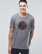 Pretty Green T-Shirt With Paisley Logo Print In Slim Fit Gray