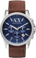 Armani Exchange Men's Chronograph Brown Leather Strap Watch 45mm AX2501