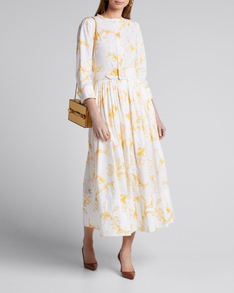 Oscar de la Renta Floral Belted Cotton Poplin Shirtdress