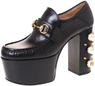 Gucci Black Leather Horsebit Pearl Embellished Platform Loafers Size 38