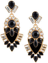 GUESS Gold-Tone Clear & Jet Crystal Drop Earrings