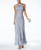 Night Way Nightway Nightway Petite Illusion Lace Halter Gown