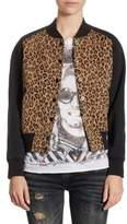 R 13 Combo Leopard Regular-Fit Cotton Jacket