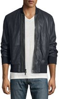 John Varvatos Burnished Leather Bomber Jacket, Dark Blue