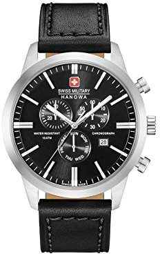 Swiss Military Mens Chronograph Quartz Watch with Leather Strap 06-4308.04.007