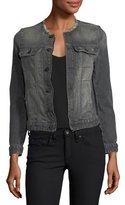 Zadig & Voltaire Kioky Gris Brocade Button-Front Denim Jacket