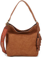 Steve Madden Steven by Madaxx Grommet Hobo Bag with Whip-Stitched Guitar Strap