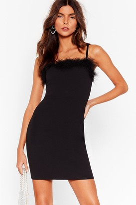 Nasty Gal Womens Feather a Dull Moment Fitted Mini Dress - Black