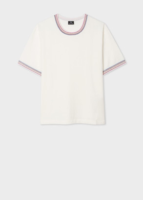 Paul Smith Womens Cream Short-Sleeve Sweater With Stitching Trims