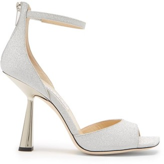 Jimmy Choo Reon 100 Spool-heel Glittered Leather Sandals - Silver